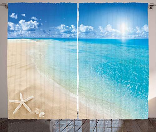 Ambesonne Beach Curtains, Sunny Summer Seashore Clear Sky Seashells Starfish Clouds Aquatic Picture, Living Room Bedroom Window Drapes 2 Panel Set, 108' X 63', Cream Blue