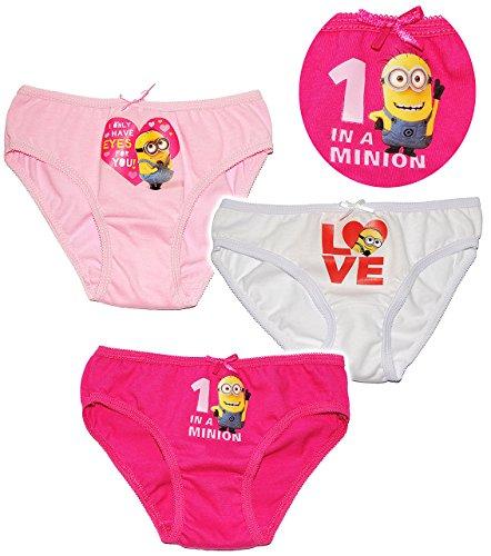 alles-meine.de GmbH 3 TLG. Slip / Unterhosen -  Minions - Ich einfach unverbesserlich  - Größe 6 bis 8 Jahre - Gr. 122 bis 134 - 100 % Baumwolle - Mädchenslip / Unterwäsche - f..