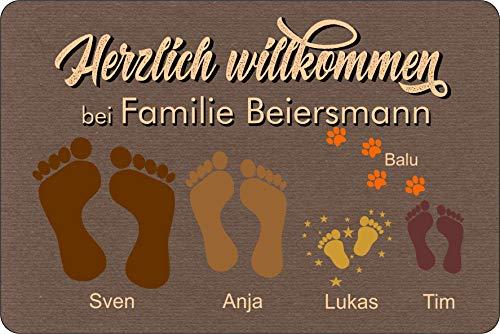 Fußmatte Füße Pfoten Teppich mit Vor- & Familien Namen braun Geschenk Hund Katze Umzug personalisiert Fußabdruck Idee aussen innen waschbar lustig