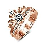 CF100 Crown Ring, Rose Gold 2 in 1 Adjustable Crown Ring Fashion Rings for Women Teen Girls (Crown 2 in 1)