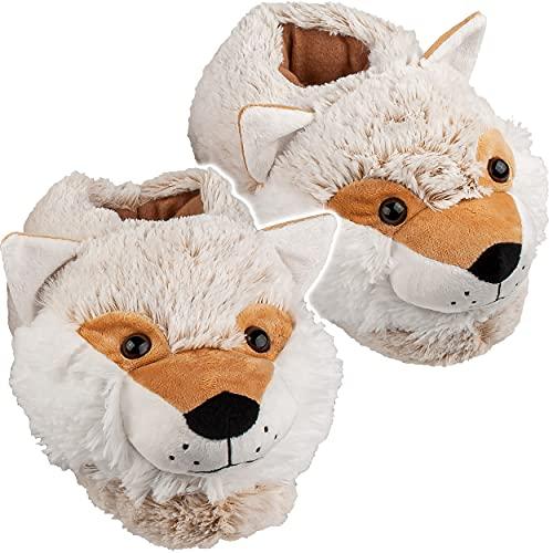 alles-meine.de GmbH Plüsch Hausschuhe _ Größe frei wählbar _ Hund / Husky / Fuchs / Wolf - Größe Gr. 37 - 47 EU _ schön warm _ Kuschel - für Kinder & Erwachsene - ABS Sohle ruts..