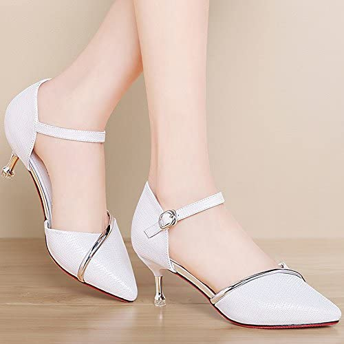VIVIOO Sandales à talons hauts sandales à talons hauts chaussuresbaotou sandales chaussures d'été blanc avec creuse sauvage beige fine avec boucle talons hauts