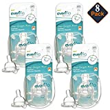 Evenflo Proflow Wide Neck Nipples, 8 Pack -- Fast Flow Level 3, Clear (Compatible with Most Wide Neck Baby Bottles by Mixie; Dr. Browns; Minbie; Pura Kiki; MAM; Phillips Avent; Lansinoh)