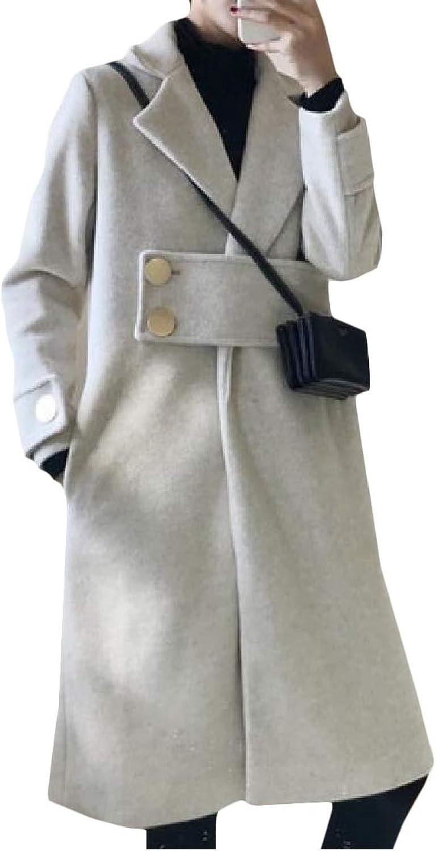 CromoncentCA Women Stylish Slim Fit Wool Blend Overcoat Outerwear Pea Coat