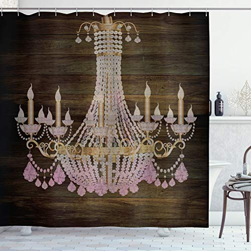 """Ambesonne Rustic Shower Curtain, Image of a Vintage Crystal Chandelier on Wooden Plank Pattern Background Modern Country Style Print, Cloth Fabric Bathroom Decor Set with Hooks, 70"""" Long, Brown Pink"""