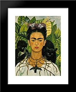 Self Portrait with Necklace of Thorns 20x24 Framed Art Print by Frida Kahlo