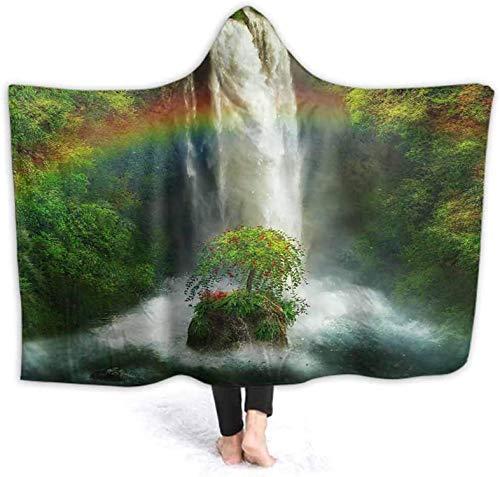 Manta suave con capucha para adultos, hombres, mujeres, fantstica cascada con un arcoris, mantas de animales con capucha, suave y acogedora, manta de velln 150x200cm (59.1x78.7 '')