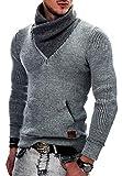 Indicode Uomo Dane Pullover Invernale A Maglia Grezza con Colletto Sciallato | Caldo Moderno Marchio Hoddie Maglione Comodo in per Uomo Light Grey L