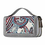 HAWEE Double Zipper Wallet for Woman Clutch Purse with Cell Phone Pocket for Smart Phone/Card/Coin/Cash, White Floral with Strap