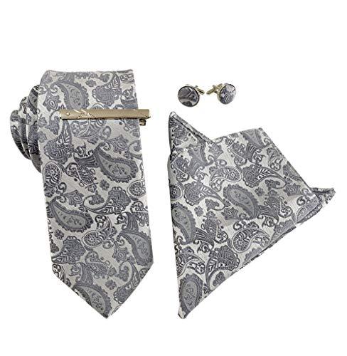 KRUIHAN 4 Pcs Herren Krawatten Set - Klassische Krawatte Floral Stickerei Einstecktuch mit Krawattennadel Manschettenknöpfe Hochzeitsfest Anzug Zubehör für Papa, Ehemann, Freund Grau