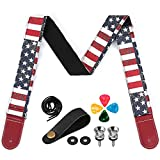 Guitar Strap for Acoustic/Electric/Bass Guitar, Adjustable Guitar Strap with Picks/Headstock Adapter/Strap Locks and Button, USA Flag