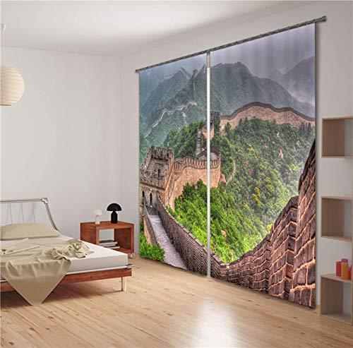 MAOYYM2 Rideaux Rideaux De Fenêtre 3D De Luxe Blackout Salon Chambre Chambre Cortinas La Grande Muraille Imprimer