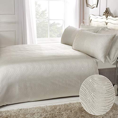 Sleepdown Juego de Cama con Funda de edredón y Fundas de Almohada, diseño de Rayas, Color Marfil y Marfil de Lujo, de fácil Cuidado, de poliéster, 220 cm x 230 cm