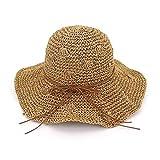 Sombrero de Paja de Ganchillo Hecho a Mano Big Edge Hollow S