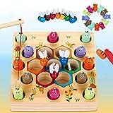 Dookey Giochi di Pesca, 2 in 1 Giochi Montessori Magnetici di Pesca in Legno, Educazione Interattivi per Genitori e Bambini, Perfetti Giocattoli consigliati per Bambini di età Compresa tra 3 e 6 Anni