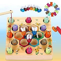 Dookey Magnetische Angelspiel Holzspielzeug 2 in 1 Montessori Lernspielzeug Magnettafel Fischspielzeug aus Holz Geschenk ab Mädchen Jungen Kinder Lernen Spielzeug mit Magnetstangen