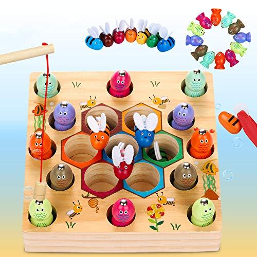 Dookey Giochi di Pesca, 2 in 1 Giochi Montessori Magnetici di Pesca in Legno, Educazione Interattivi per Genitori e Bambini, Perfetti Giocattoli consigliati per Bambini di età Compresa tra 2 e 4 Anni