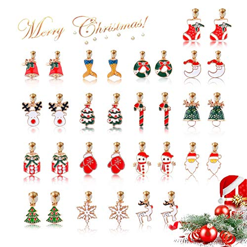 Hypoallergenic Clip-on Earrings for Girls - 12 Pairs Women Christmas Drop Dangle Earring set for Teens Girls Cute Festive Earrings Jewelry Set Party Gold-tone (christmasdrop)