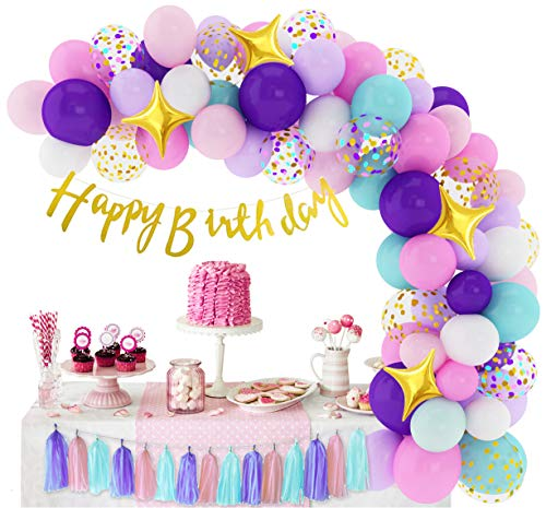 338 Pcs Unicorn Birthday Balloons Arch Garland Kit 12'' 10'' 5'' Confetti Latex Foil Purple Pink Balloons with Happy Birthday Banner Tassels for Unicorn Birthday Decorations for Girls Baby Shower Party Supplies with Tying Tool, Balloon Strip, Glue Points & Ribbon