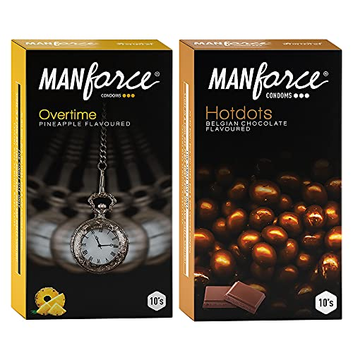 Manforce Premium Hotdots Belgian Chocolate with Bigger Dots & Overtime Pineapple 3in1 (Ribbed, Contour, Dotted) Condoms – 10s (Pack of 2)