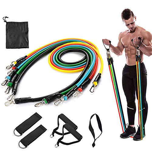 Resistance Bands Set 11Piece Exercise Bands  Portable Home Gym Accessories  Familyworkout Gym Yoga Perfect Muscle Builder for Arms Back Leg Chest Belly Glutes