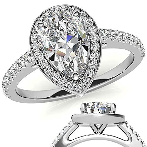 Customize Jewels Anillo de compromiso con halo de moissanita de 3,50 quilates de 12 x 8 mm con diamante de laboratorio en oro de 14 k D-VVS1 7