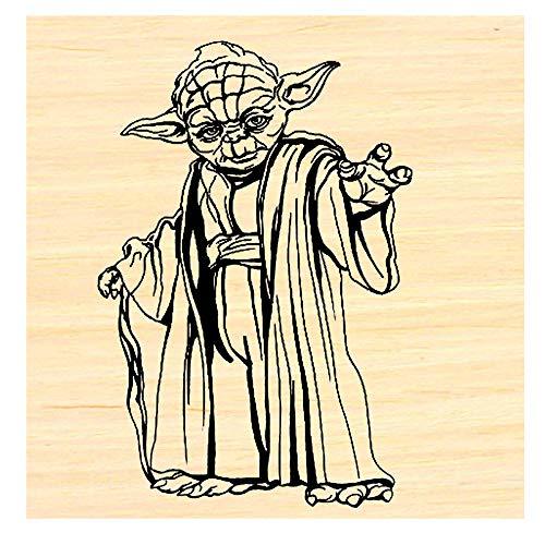 Yoda line Art Rubber Stamp P58
