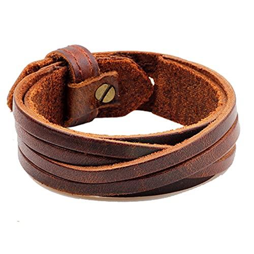 Pulseras estilo punk de piel sintética para hombre, fácil de ajustar, anchas pulseras de cuero trenzado, duraderas y robustas