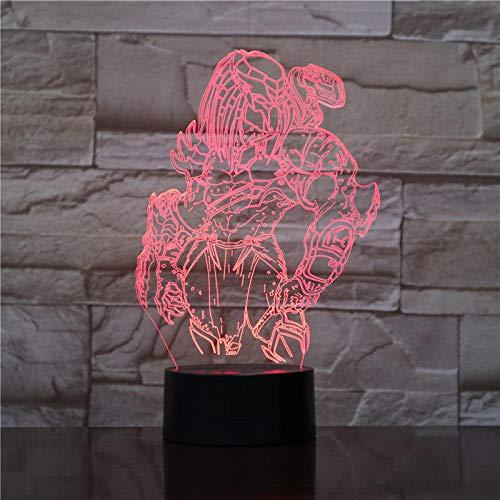 Lámpara De Ilusión 3D Luz De Noche Led Predator Changing Visual 7 Colors Changing Alien Vs Wolf Predator Lámpara De Mesa Para Decoración Del Hogar