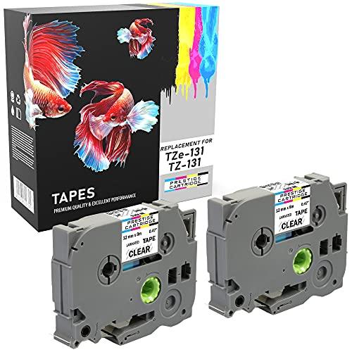 2 Compatibles Casetes TZe-131 TZ-131 negro sobre transparente 12mm x 8m cintas laminadas para Brother P-Touch PT-1000 1005 1010 9600 D200 D210 D210VP D450VP D600VP E100 H101C H105 H110 H300 P700 P750W