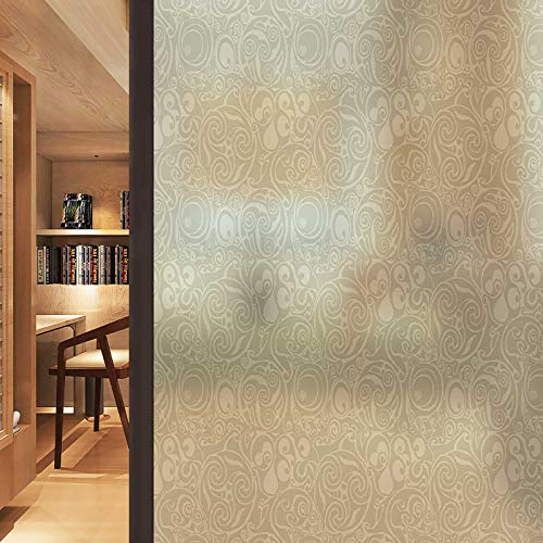 Window Door Glass Film Celtic Art Tribal Frosted Glass Static Cling Non Adhesive Window Frost Film for Home Office 35.4 x 78.7 in