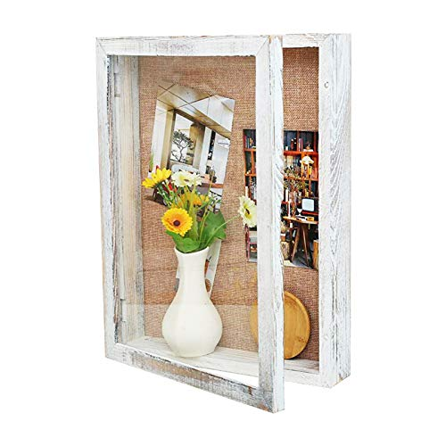 BECTSBEFF 11x14 Shadow Box Frame, 3 Inch Depth Large Shadow Box Display Case with Glass, Wedding Shadow Box with Magnetic Door, Wooden Memory Box for Memorabilia Photos Awards Medals-Rustic White