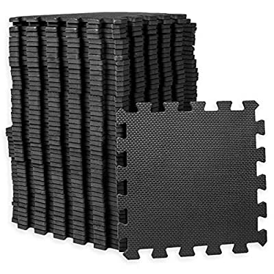 Play Platoon Gym Flooring Exercise Mats - Black Interlocking Workout Mats for Home Gym Floor, 3/8 Inch Thick Tiles, 48 square foot
