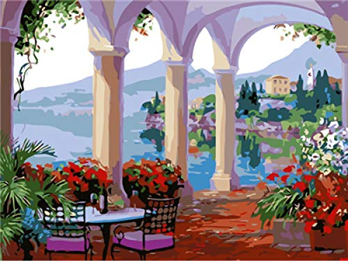 Paint by Numbers Kits - Gazebo By The Sea, DIY Acrylic Painting Kit for Kids & Adults with Brushes and Pigment Pre-Printed Canvas Art Home Decoration No Frame (16x20in)