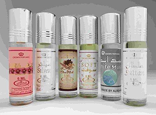 6 (Six) Al-Rehab 6ml Perfume Oils 2017 Best Sellers Set # 14: Platinum, Al Nourus for Women, Al-Rehab Grapes, Arabisque , Smart Man and Al Hanouf