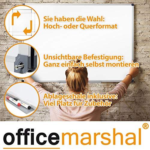 Office Marshal Profi – Whiteboard | Testsieger, Note 1,3 | magnetisch und beschreibbar | Magnettafel mit schutzlackierter Oberfläche | vertikal und horizontal montierbar | 13 Größen | 60x90cm - 4