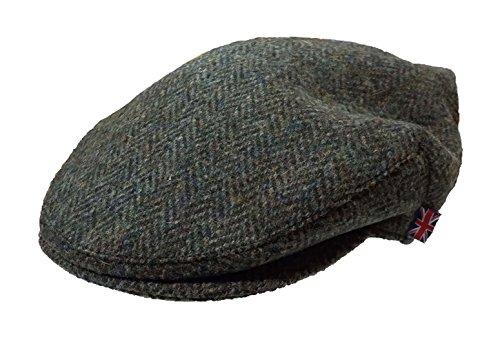 i-Smalls Herren Harris Tweed Wolle Fischgraetenstich Design Country Kappe Schiebermuetze (Grun) 57