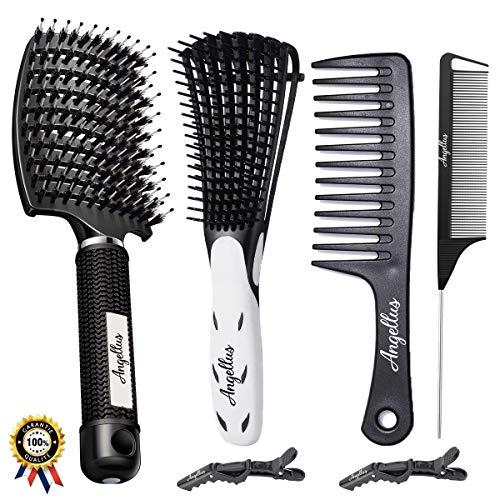 ✅ Brosse à Cheveux Démêlante - Brosse en Poils de Sanglier - Brosse pour Cheveux bouclés épais fins frisés - Peigne à dents larges - Peigne à Queue | Angellus