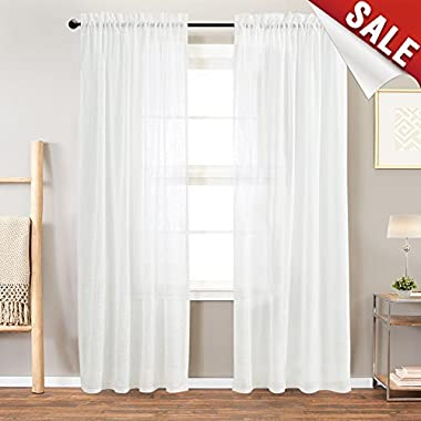 jinchan Sheer Window Curtains for Bedroom Linen Textured White Curtain Panels for Living Room 95 inch Length,Rod Pocket 2 Panels