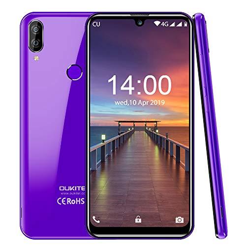 "OUKITEL C16 Pro (2019) Smartphone Libres Android 9.0 Pantalla 19:9/5.71"" Face Unlock,3GB + 32GB, Cámara Trasera de 8MP + 5MP Procesador Quad-Core MT6761 Dual 4G Volte Batería 2600mAh-púrpura"