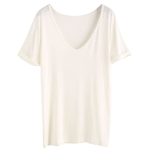 427f28f8 SheIn Women's Summer Short Sleeve Loose Casual Tee T-Shirt White# Medium