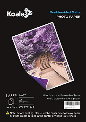 KOALA Fotopapier für Laserdrucker, Doppelseitig, Matt, A4, 200 g/m², 100 Blatt. Geeignet zum Drucken von Fotos, Zertifikaten, Broschüren, Flyern, Faltblättern, Grußkarten, Kalendern, Kunst