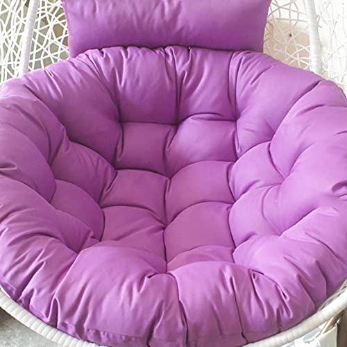 LLKK Cojín redondo para silla Papasan con almohada, cojín grueso de mimbre para silla de columpio de ratán, cojín de hamaca de huevo para exteriores, color blanco de 105 cm