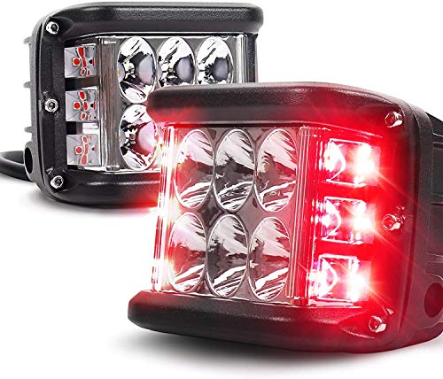 2PCS LED Pods Light,Dual Side Shooter Dual Color Strobe Cree Pods for Truck ATV Boat,with Flash Strobe Function (Left and right red light)