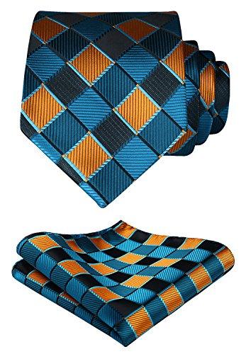 HISDERN Herren Krawatte Taschentuch Check Krawatte & Einstecktuch Set Aqua & Orange
