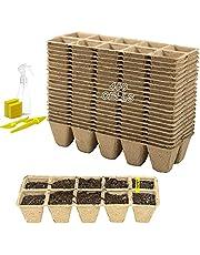 40 Piezas 10 Rejillas Macetas de semillas para plántulas Plantas de Fibra Macetas Macetas Biodegradables Macetas de Fibra Biodegradables para Jardín Semillas y Trasplantes