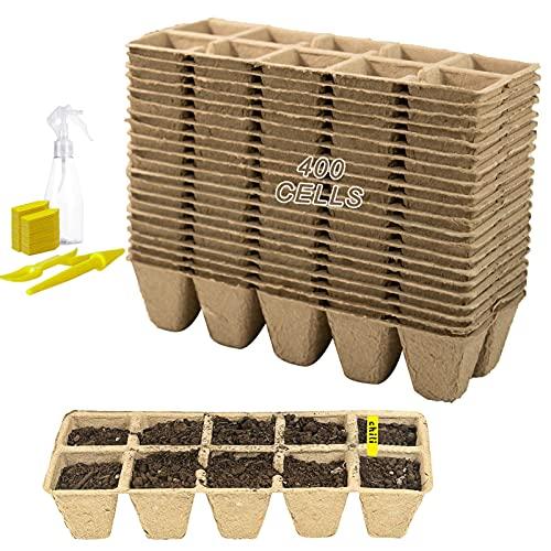 40 Piezas 10 Rejillas Macetas de semillas para plántulas Plantas de Fibra Macetas Macetas...