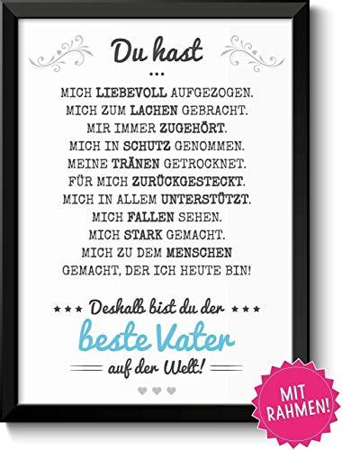 Bester Vater Bild im schwarzem Holz-Rahmen Geschenk Geschenkidee Danke sagen Dankeschön Papa