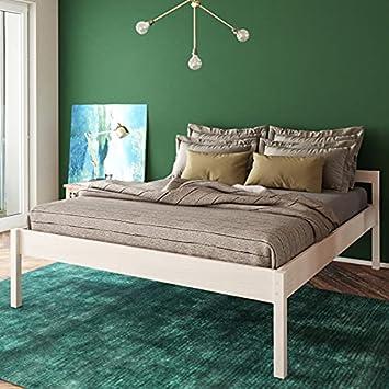 Seniorenbett 180×200 cm Anu Scandi Style aus hartem FSC Birken Vollholz – über 700 kg – Holzbett 55 cm hoch mit Kopfteil – Stabiles Doppelbett für…