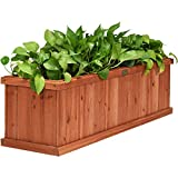 Giantex Raised Garden Bed Flower or Vegetable Planter Window Mounted Plant Box for Garden, Yard Wood Box for Planting (40' LX12 WX12 H)